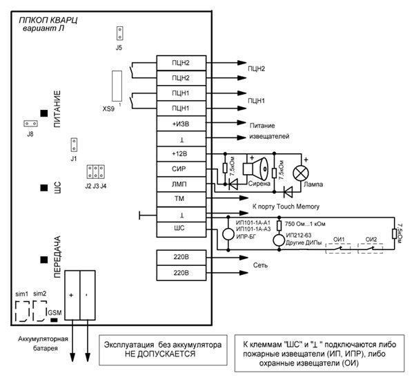 Схема подключения ручных